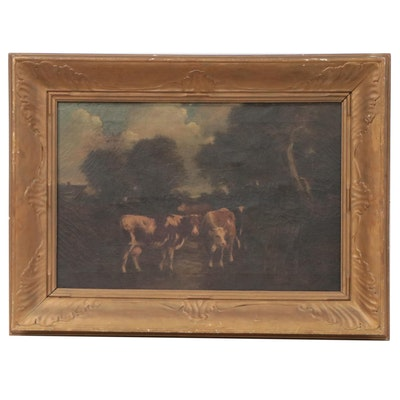 Pastoral Landscape Oil Painting of Cows, Late 19th Century