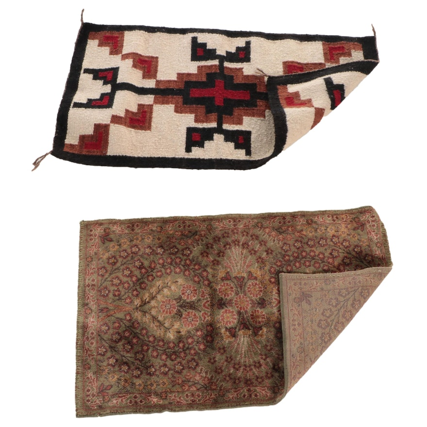 Handwoven Southwestern Style Rug with Machine Made Floral Accent Rug