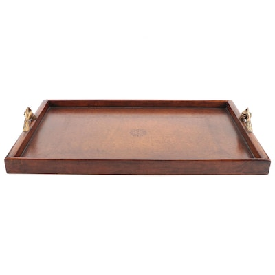 Theodore Alexander Victorian Library Brass and Tooled Leather Tray