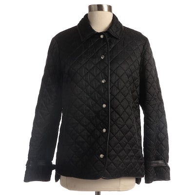 Coach Quilted Monogrammed Nylon Jacket with Leather Trim