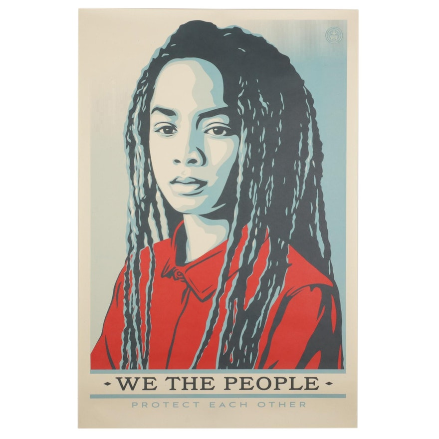 """Shepard Fairey for Amplifier Giclée """"We the People: Protect Each Other"""""""