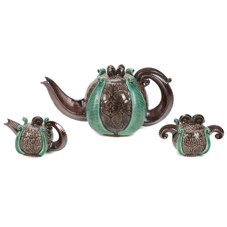 Art Pottery Tin Glazed Tentacle Tea Set