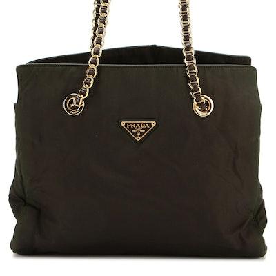 Prada Shoulder Bag in Black Tessuto Nylon with Leather Trim and Interwoven Strap