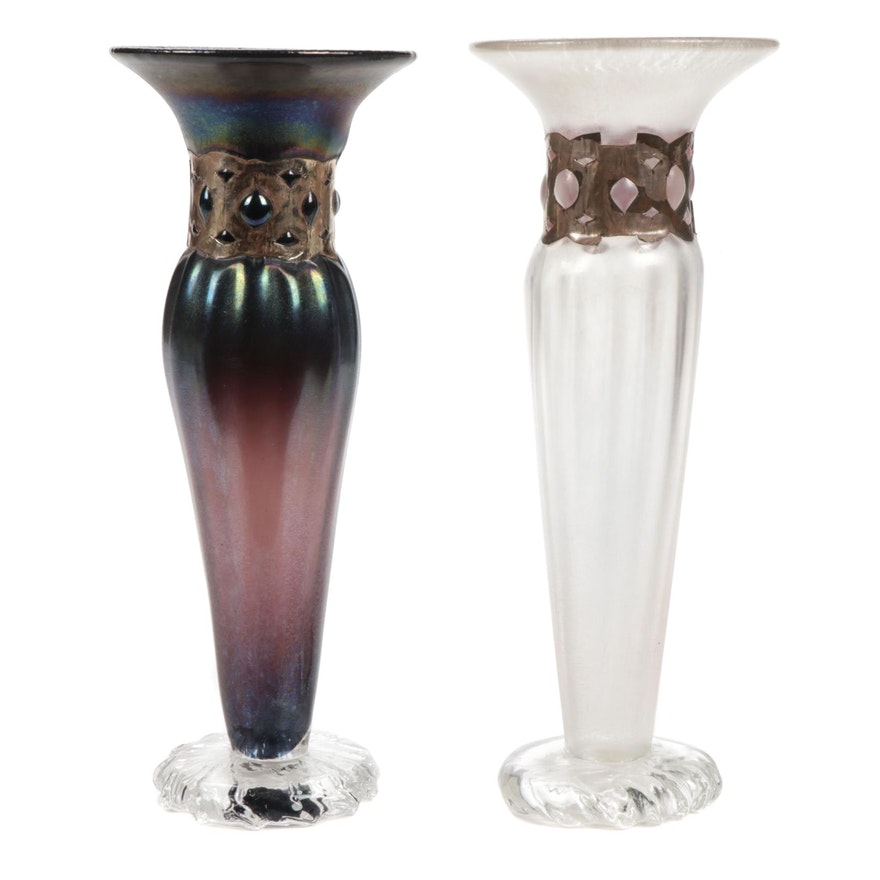 Anthony Stern Iridescent and Frosted Glass Art Glass Vases