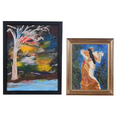 Oil Paintings of Abstract Landscape and Dancing Figures, Circa 2000
