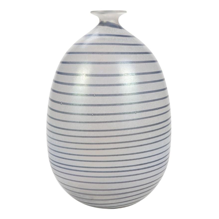 Hand-Blown Swedish Iridescent Art Glass Vase