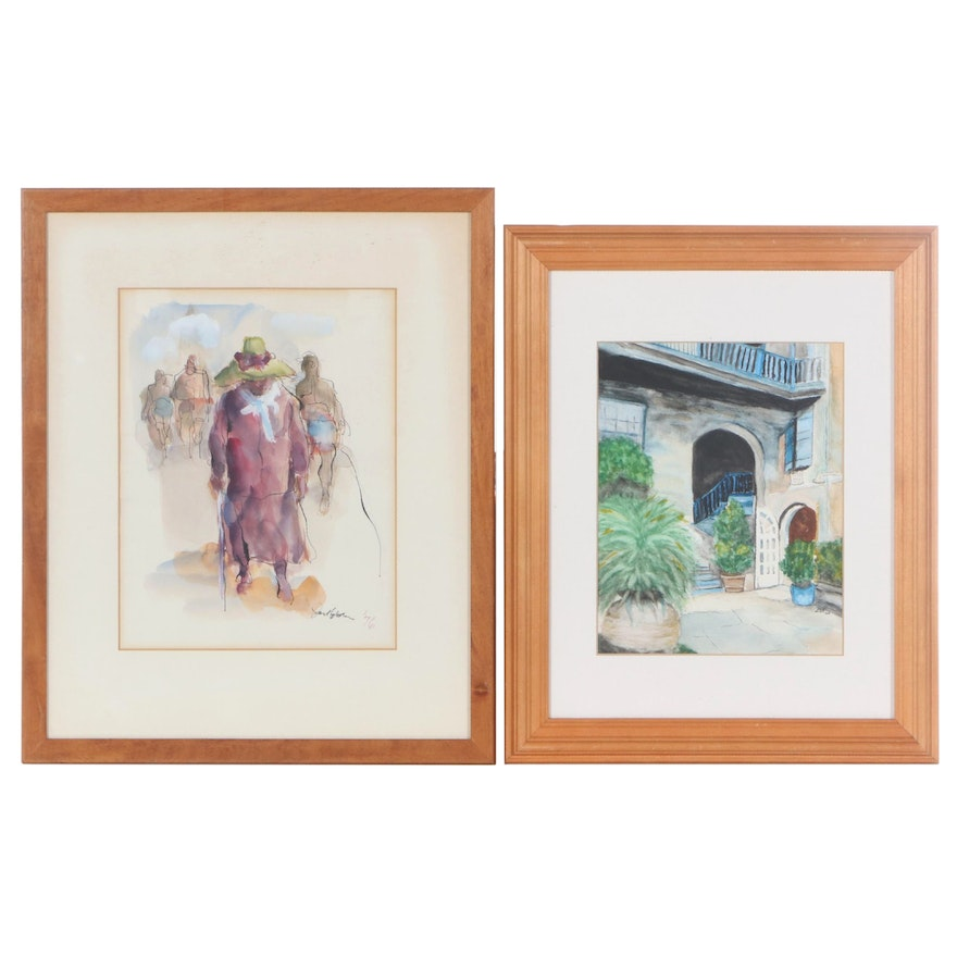 Ink and Watercolor Paintings of Alcove & Travelers