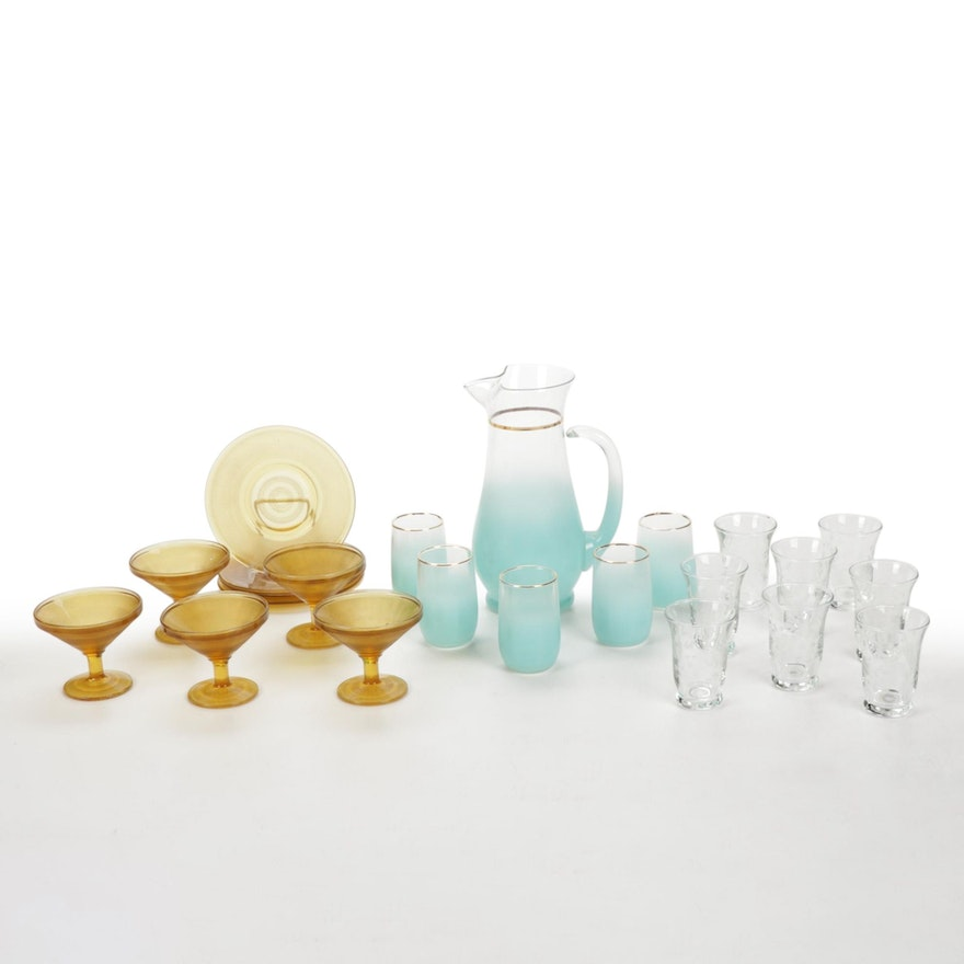 Libbey Blendo Frosted Blue Lemonade Set and Other Glass Tumblers and Sherbets