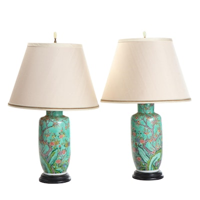 Pair of Chinese Hand-Painted Ceramic Table Lamps