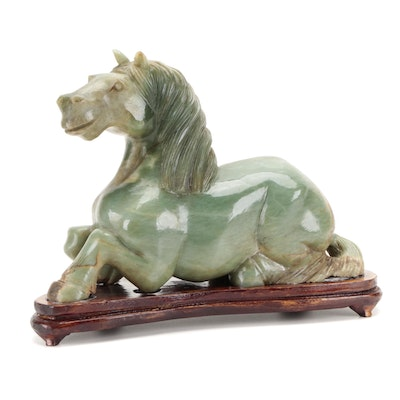 Chinese Carved Serpentine Horse Figurine on Wooden Base