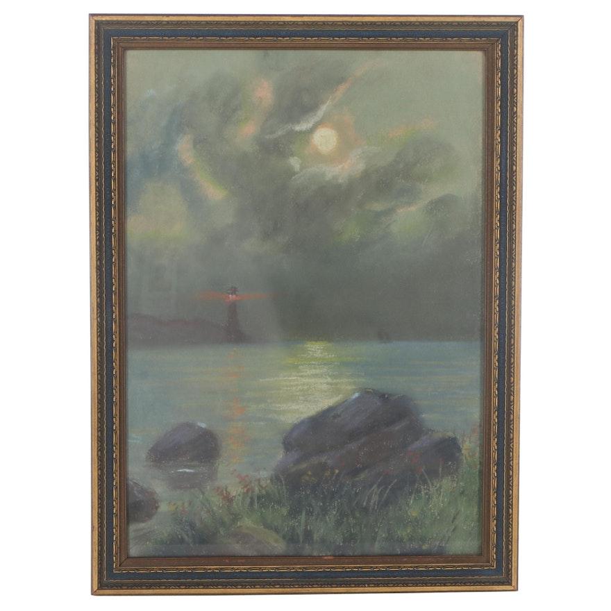 K. Groff Landscape Pastel Drawing of Lighthouse, 1919