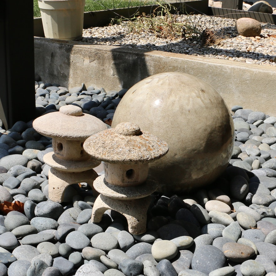 Cast Stone Outdoor Pagoda Statues and Ceramic Orb