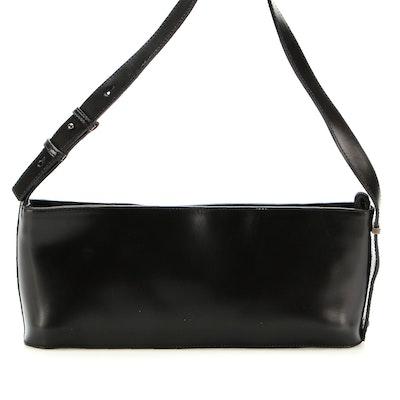 Via Spiga Baguette Shoulder Bag in Black Leather