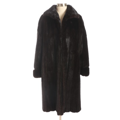 Peter Duffy Mink Fur Coat with Shawl Collar