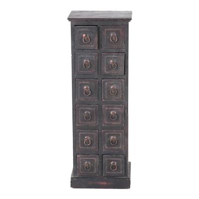 Chinese Style Ebonized Twelve-Drawer Apothecary Cabinet