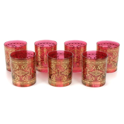 Cranberry Glass Gilt Accented Old Fashioned Glasses, Late 20th Century