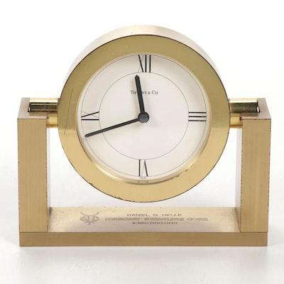 Tiffany & Co. Mantel Polished Brass Desk Clock