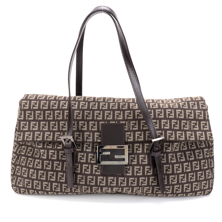 Fendi Front Flap Satchel Bag in Dark Brown Zucchino Canvas with Leather