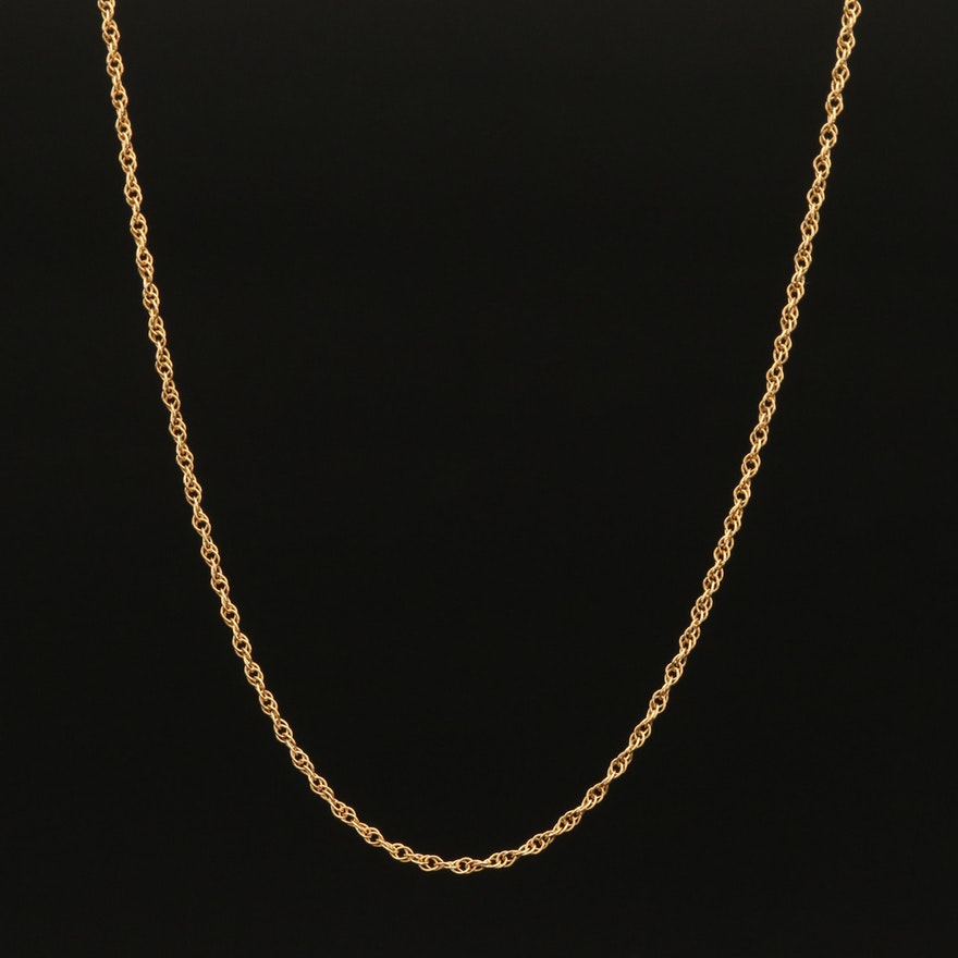 Italian 14K Loose Rope Chain Necklace
