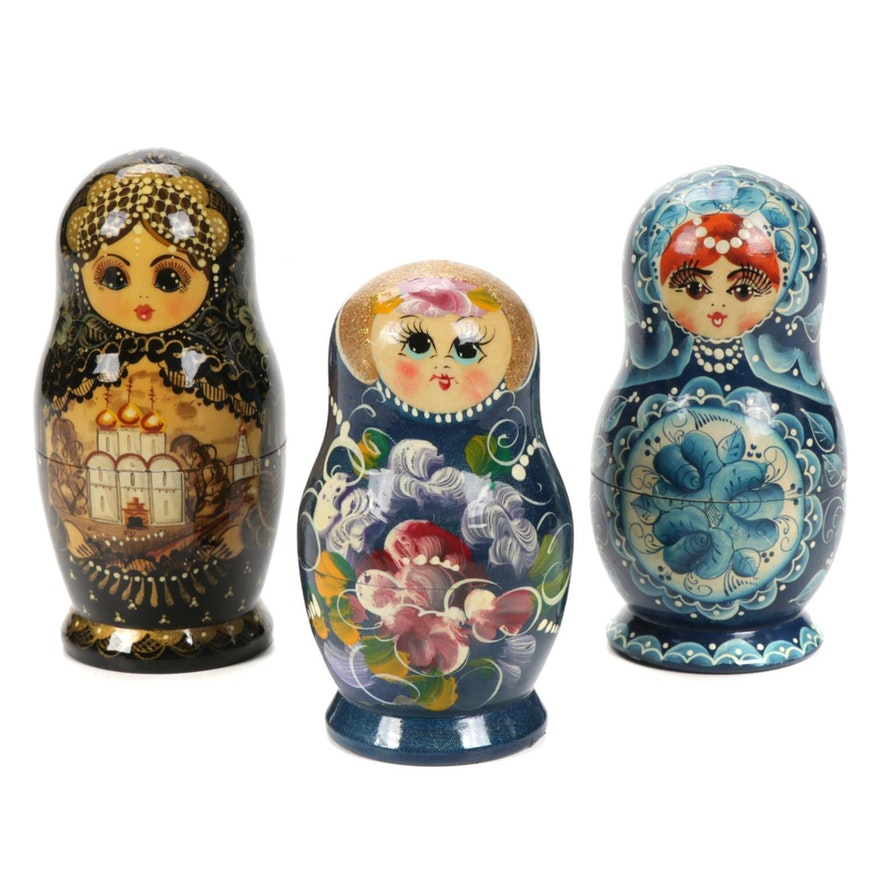 Three Sets of Hand-Painted Russian Nesting Dolls