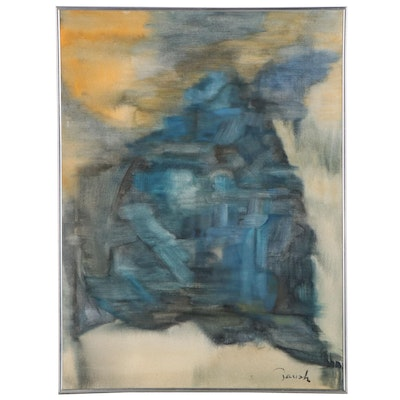 """Abstract Oil Painting """"Beautiful Blue,"""" Late 20th Century"""