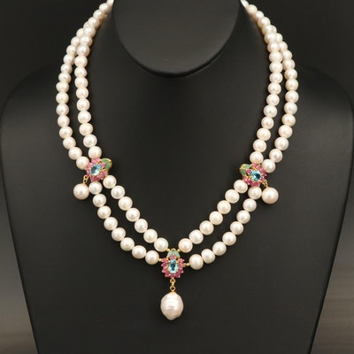 Sterling Pearl Festoon Necklace Including Emerald and Swiss Blue Topaz