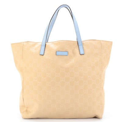 Gucci GG Beige Canvas and Light Blue Leather Tote