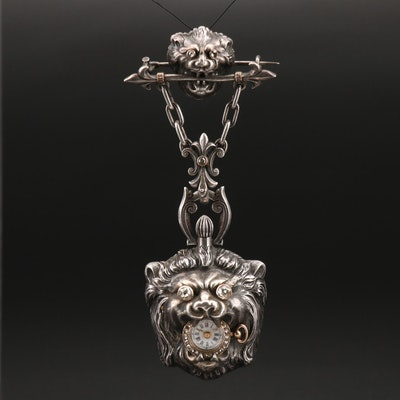Antique Sterling Silver 14K and Diamond Timepiece Brooch with Lion Heads