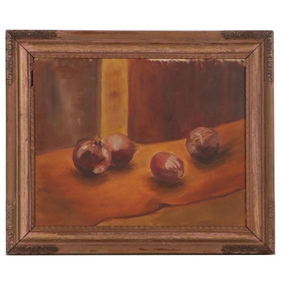 Still Life Oil Painting of Onions, 1961