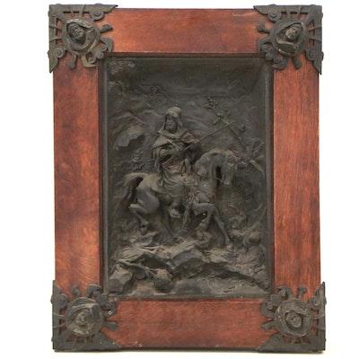 Orientalist Metal Relief of Figure on Horseback, Circa 1900