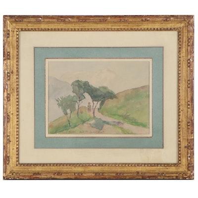 Jacques Émile Blot Landscape Watercolor Painting, Early 20th Century
