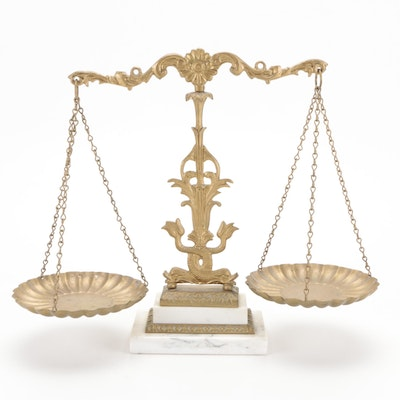 Baroque Style Gilt Metal and Marble Balancing Scale