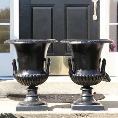 Pair of Cast Iron Urns Planters