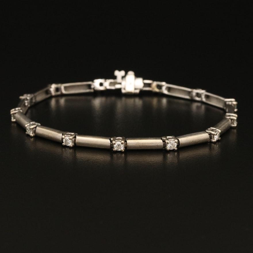 14K Diamond Bar Bracelet