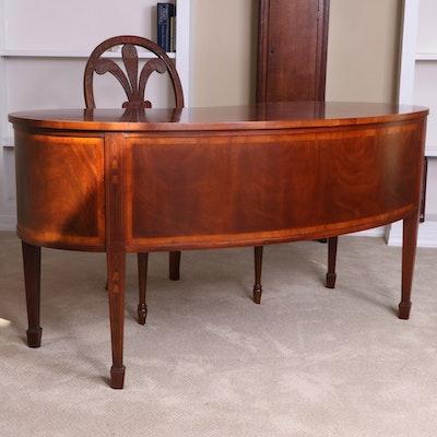 Hekman Hepplewhite Style Mahogany Desk and Hickory Upholstered Cherry Armchair
