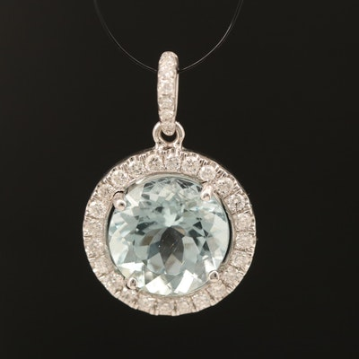 14K 3.39 CT Aquamarine and Diamond Pendant