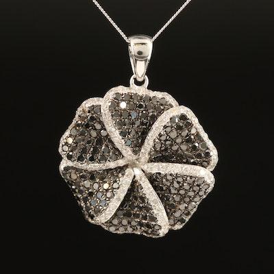 14K 1.93 CTW Diamond Flower Pendant Necklace