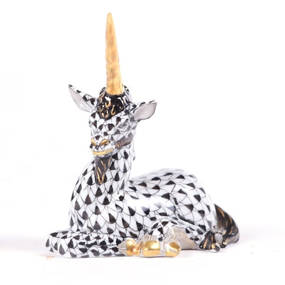 """Herend Black Fishnet with Gold """"Lying Unicorn"""" Porcelain Figurine, May 1999"""