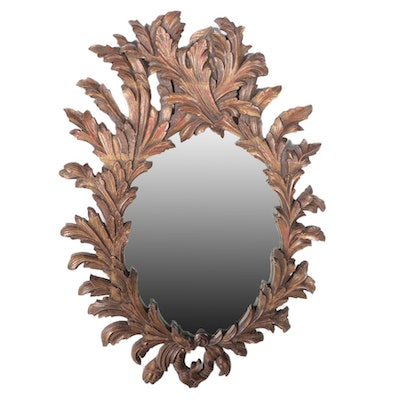 Foliate Motif Carved Giltwood Wall Mirror, Late 20th Century