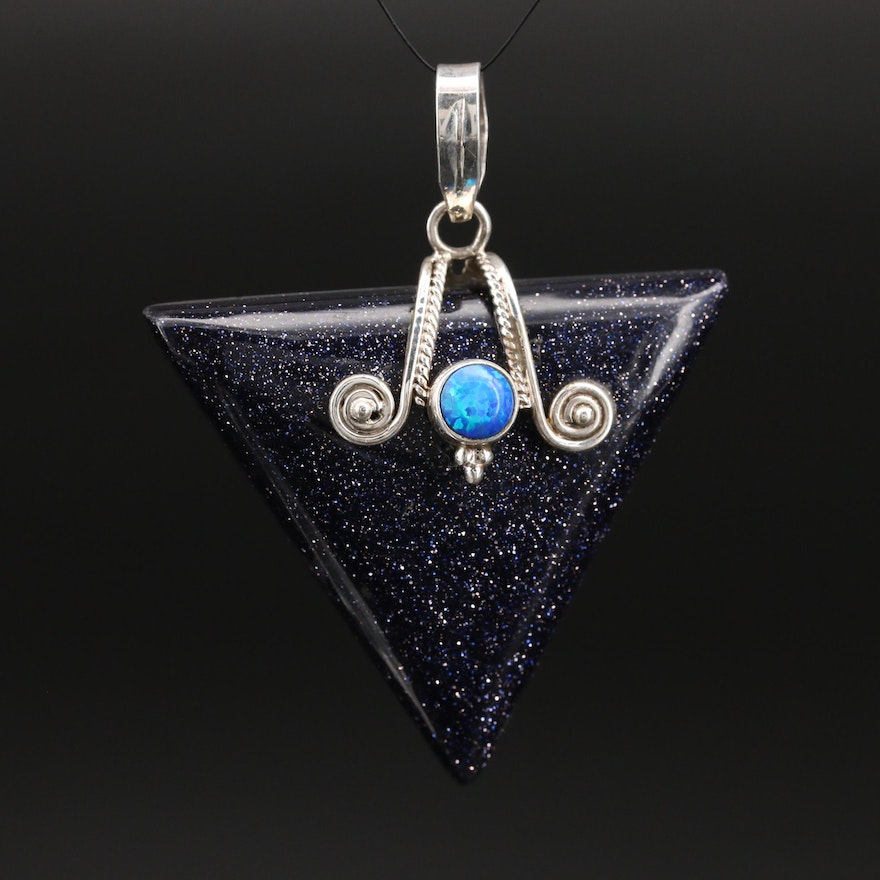 Sterling Glass and Opal Triangle Pendant