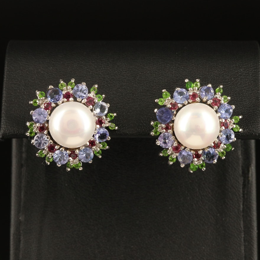 Sterling Pearl, Tanzanite and Garnet Button Earrings