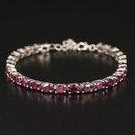 Sterling Rhodolite Garnet Line Bracelet