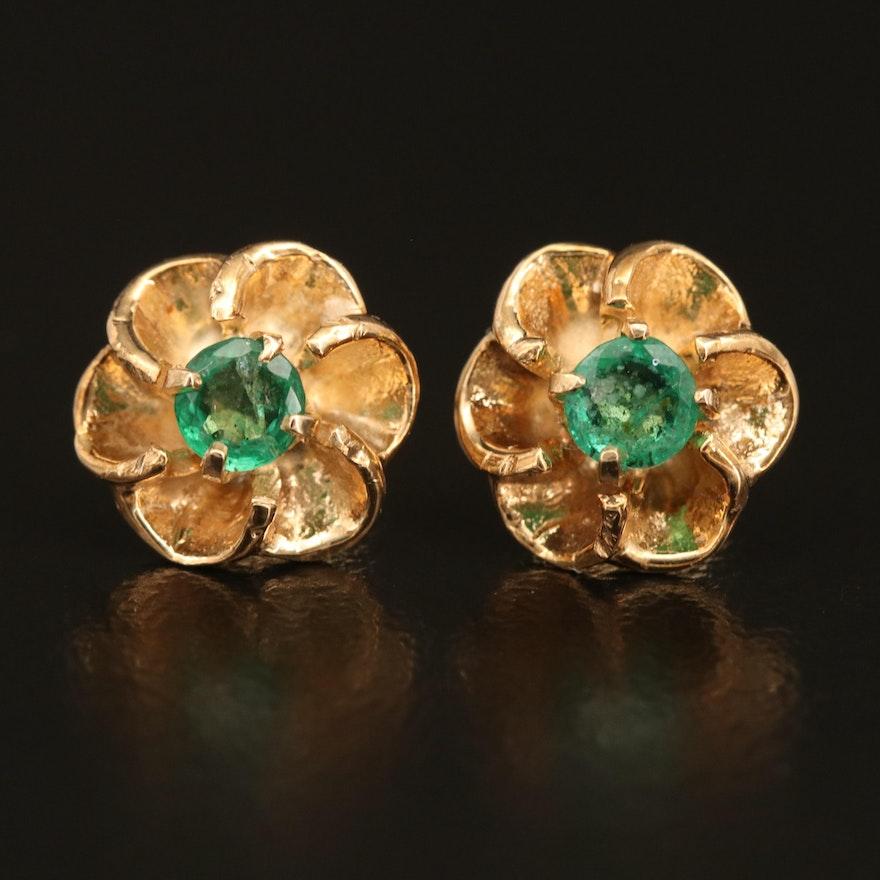 14K Emerald Floral Earrings