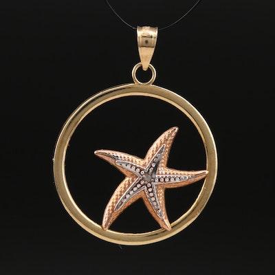 14K Rose and Yellow Gold Starfish Pendant