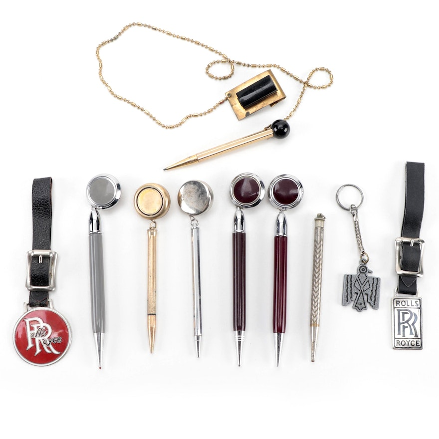 Ballou & Boss with Other Retractable Brooch Pencils, Luggage Tags and Keychain