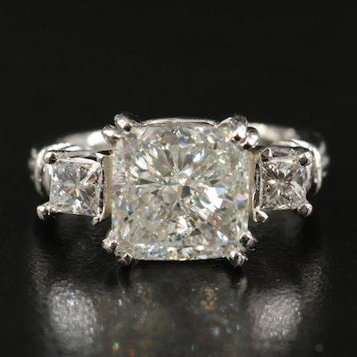 Platinum 5.50 CTW Diamond Ring with IGI Report