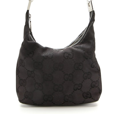 Gucci Shoulder Bag in Canvas with Leather Trim