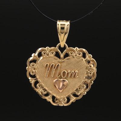 "Michael Anthony 14K ""Mom"" Heart Pendant"