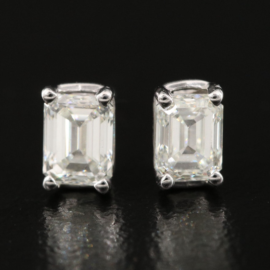 Platinum 1.00 CTW Internally Flawless Diamond Stud Earrings with GIA Reports