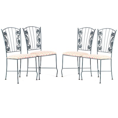 Wrought Iron and Upholstered Patio Dining Chairs